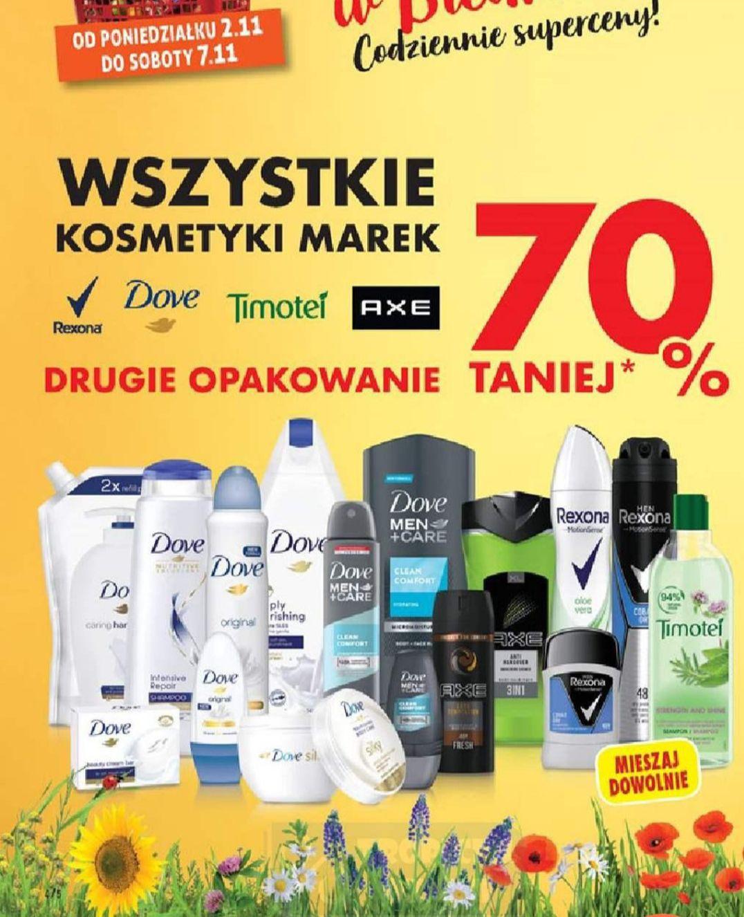 Kosmetyki Rexona, Dove, Timotei, Axe. 2gi 70 % Taniej. Biedronka.
