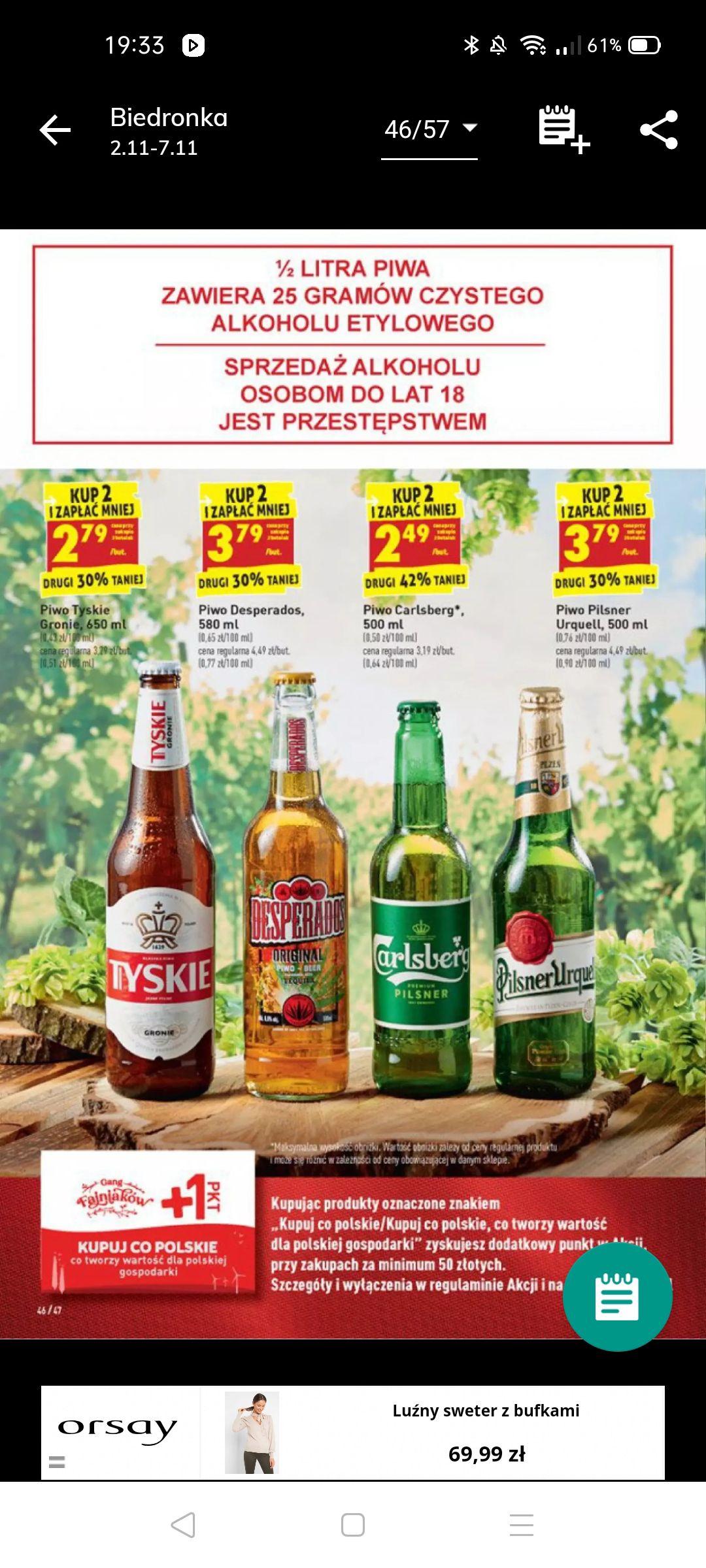 Piwo Carlsberg 2,49 zl przy zakupie 2 sztuk BIEDRONKA
