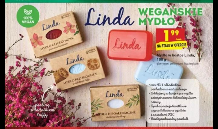 Mydełka naturalne w conajmniej 93% Linda 100g 3 rodzaje: hypoalergiczne, glicerynowe i peelingujace @Biedronka