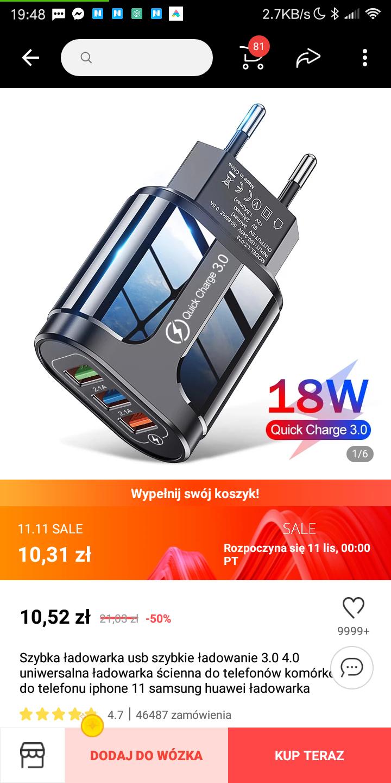 Ładowarka 18W QC 3. 3$