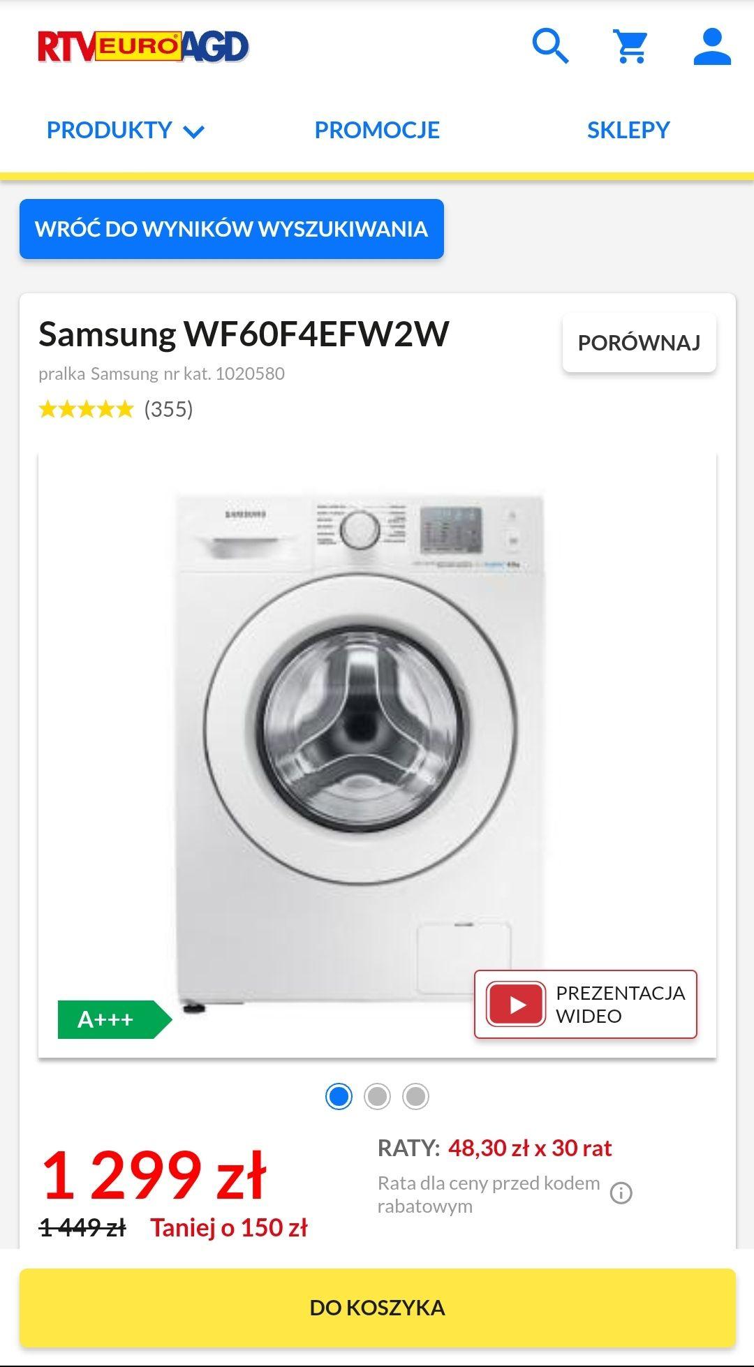 Pralka Samsung WF60F4EFW2 A+++, Eco Bubble, 6kg