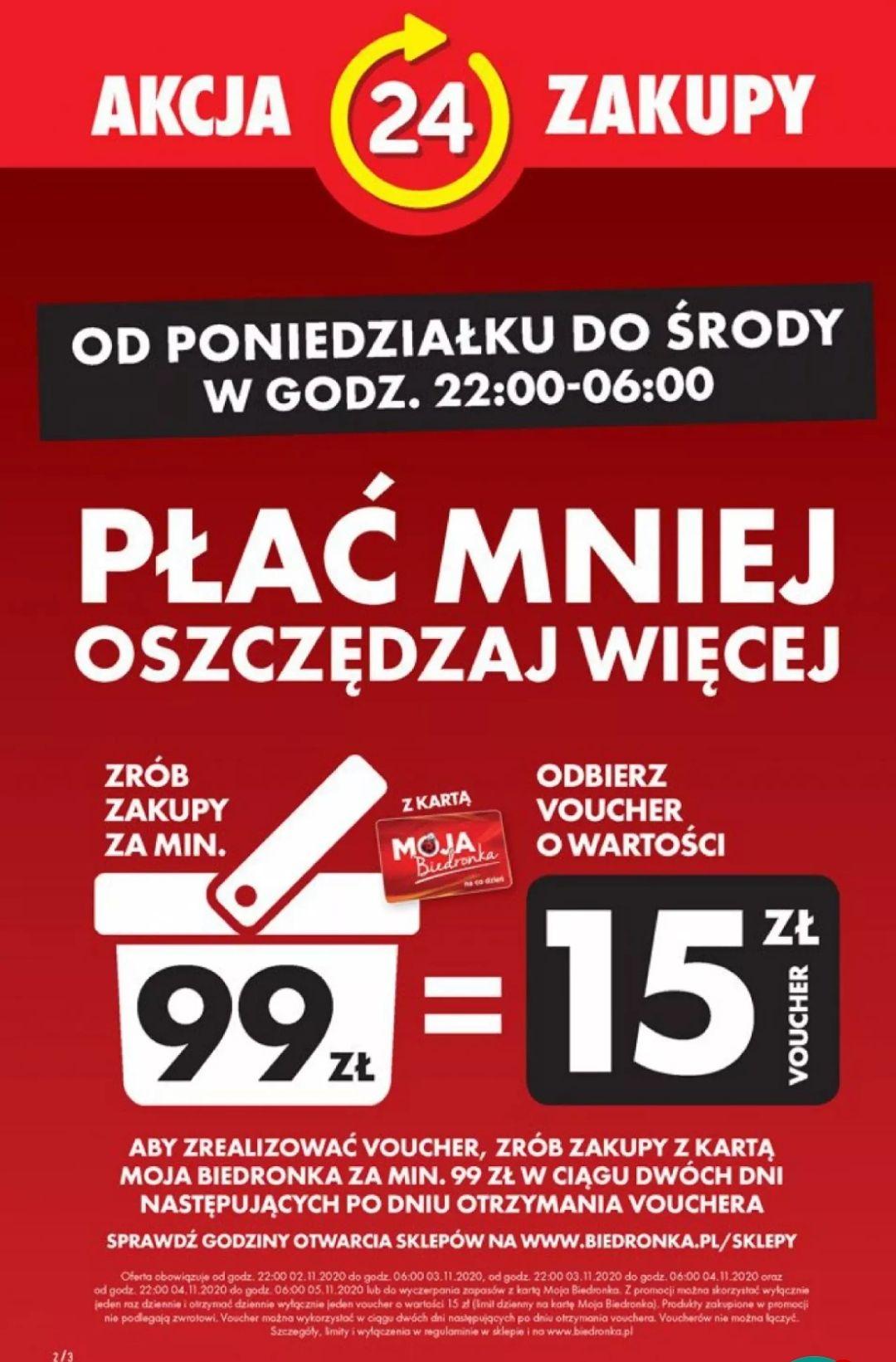 Biedronka Voucher 15 zł przy zakupach za 99
