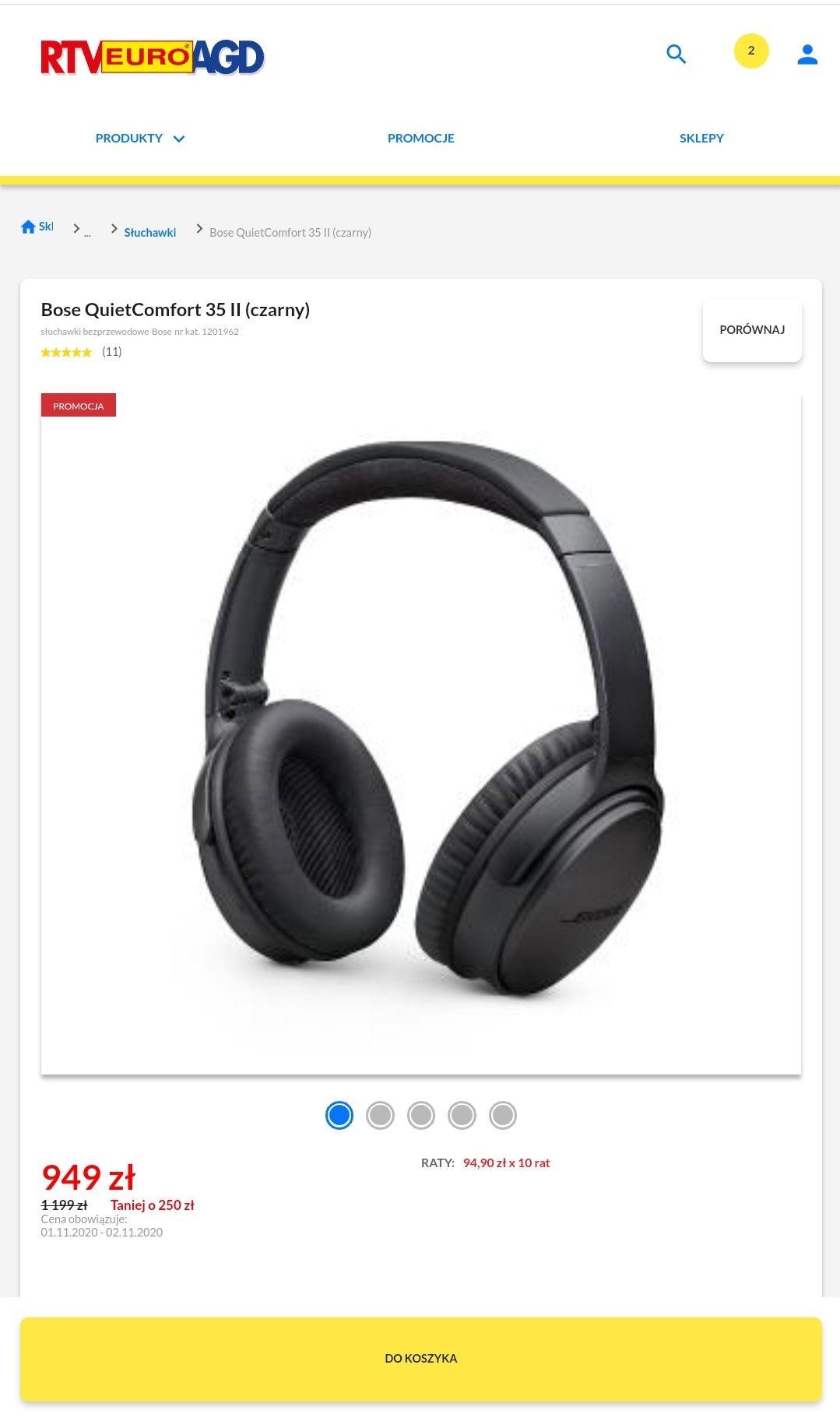 Słuchawki Bose Quietcomfort 35 czarne za 949