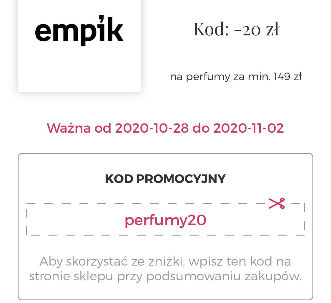 Kod -20 zł na perfumy w Empik MWZ 149zl