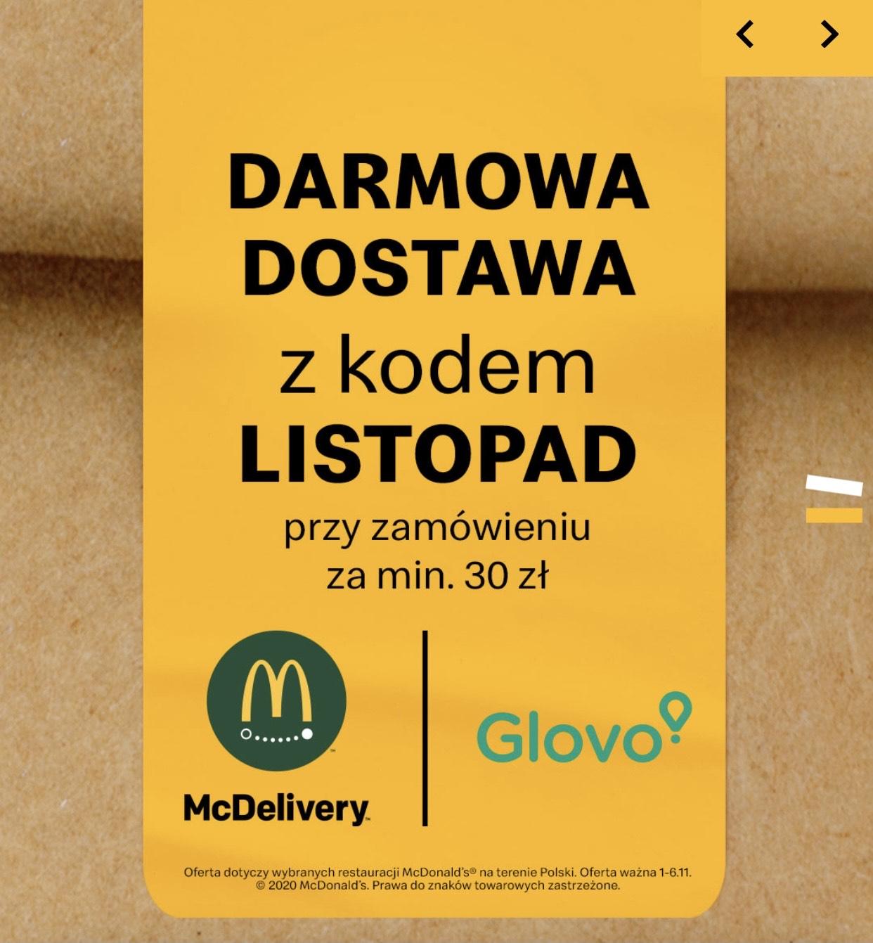 Glovo darmowa dostawa z McDonalds
