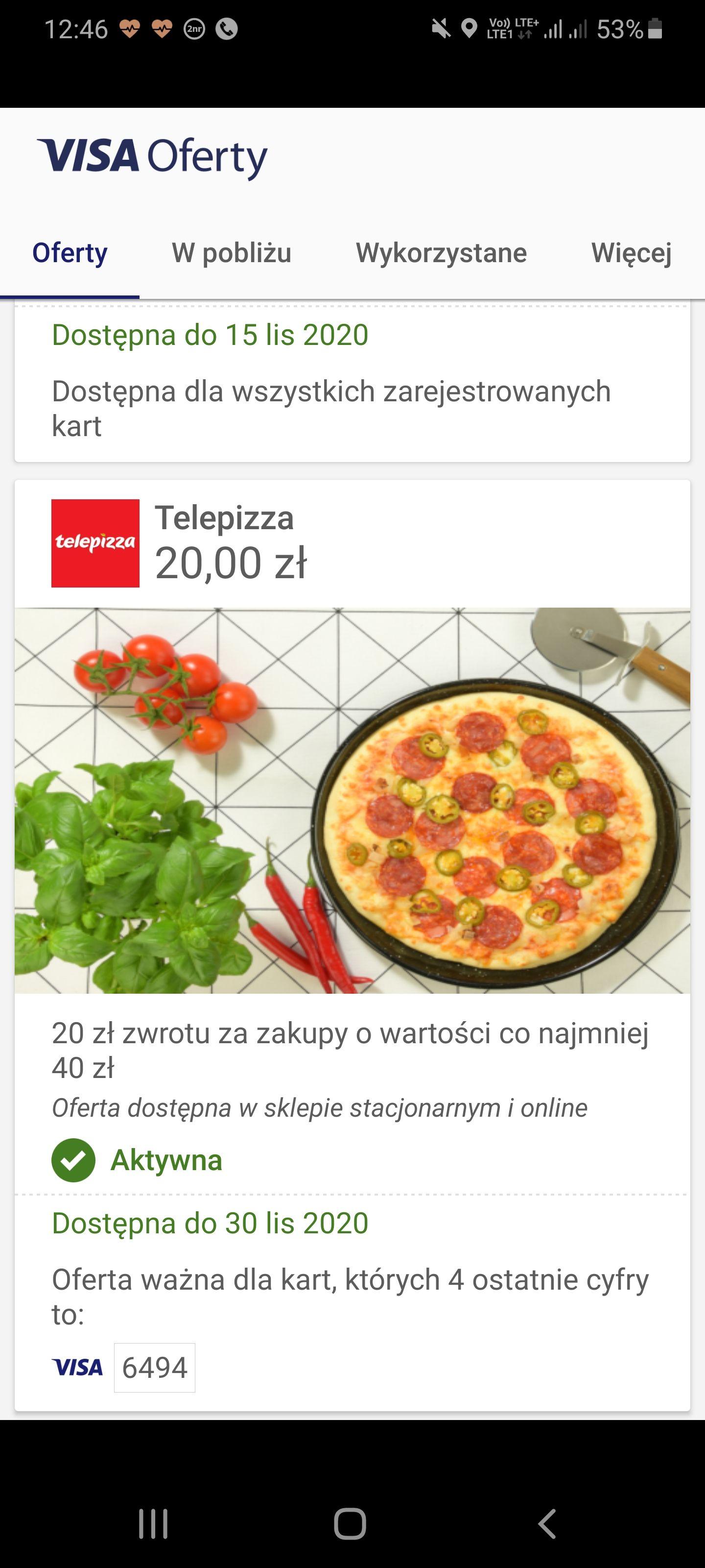 Telepizza 20/40zl @VISAOFERTY@TELEPIZZA.PL