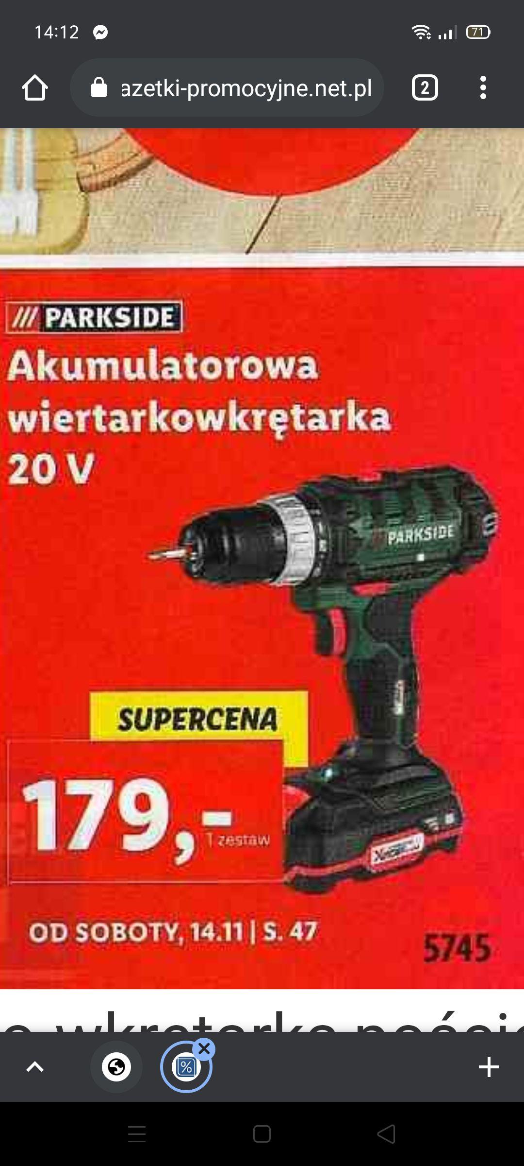Lidl Akumulatorowa wiertarkowkrętarka 20V
