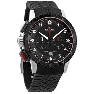 Zegarek Edox Chronorally Black Dial Black Rubber Men's Watch 10305 3NR NR $525.86
