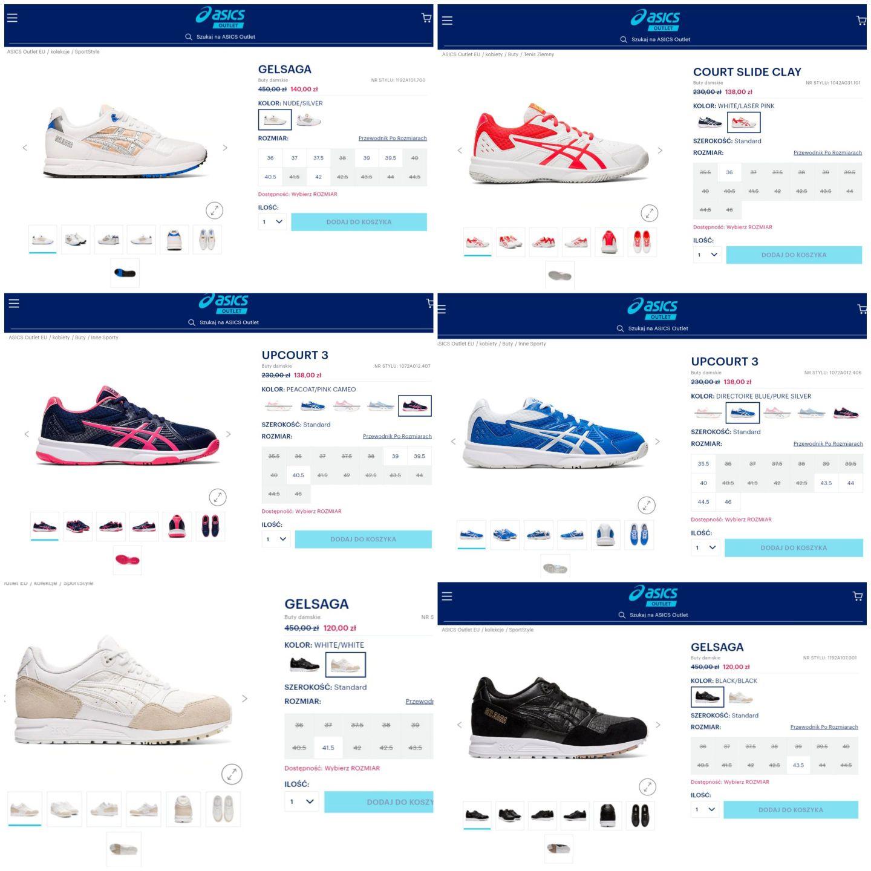 Damskie zestawienie butów Asics do 140 zł, możliwa dodatkowa obniżka 10%