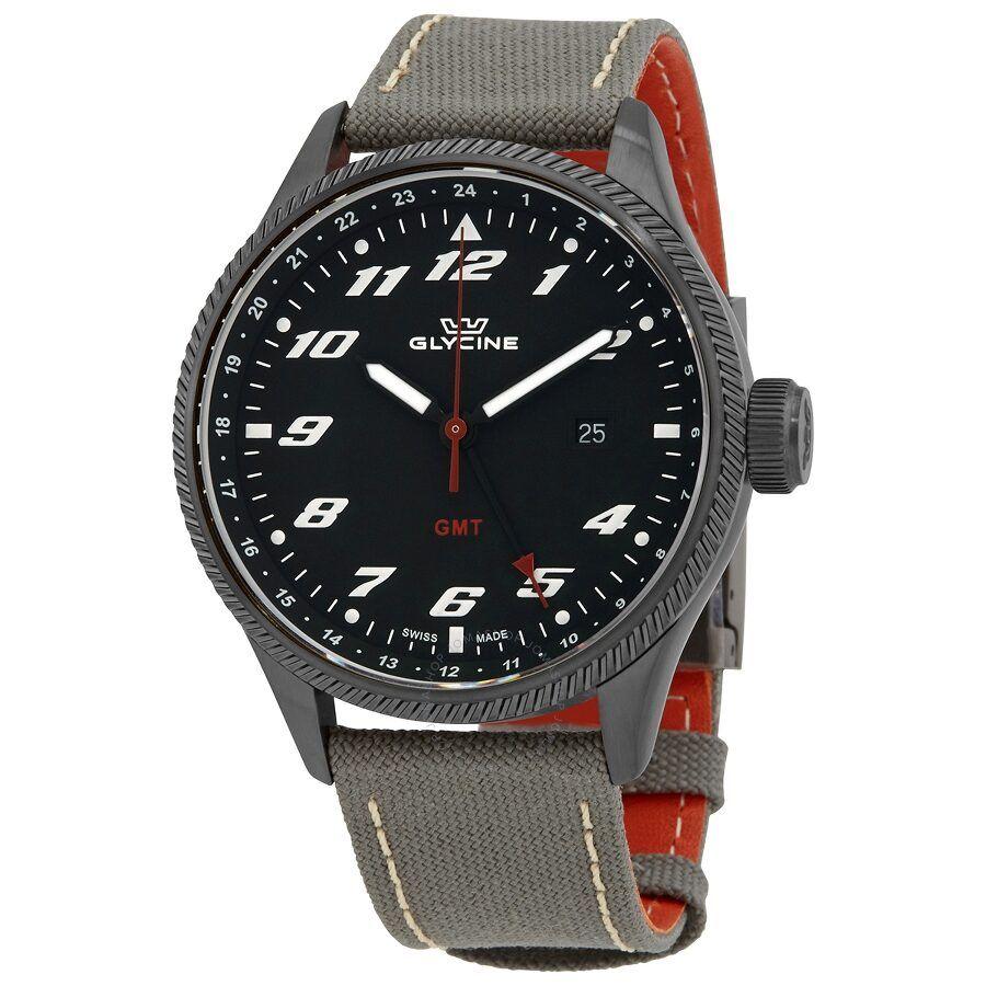 Zegarek Glycine Airman GMT Quartz Black Dial Men's Watch GL1006 $197.49