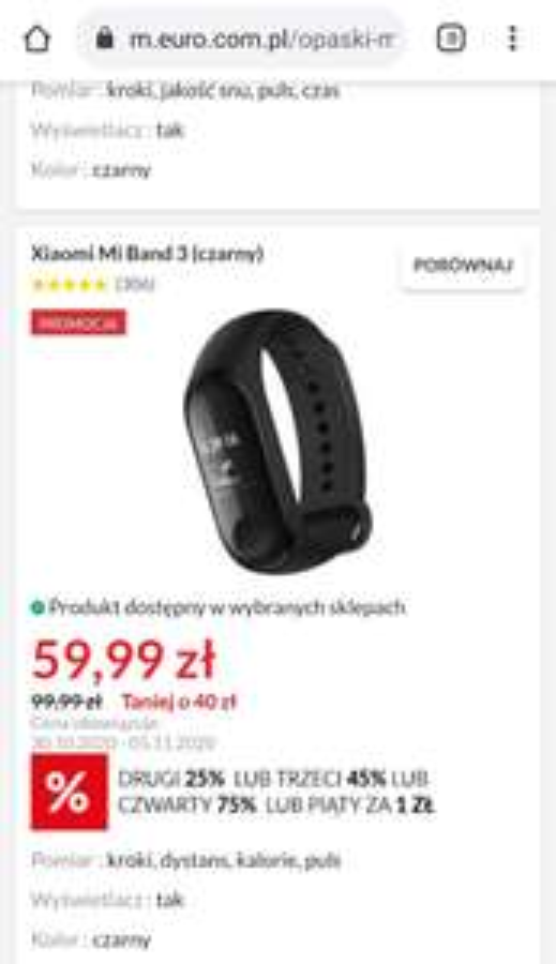 Xiaomi Band 3 (stacjonarnie)