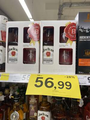 Jim Beam Bourbon whiskey 0.7 L + 2 szklanki -28%