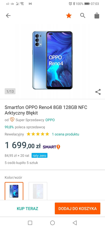 Smartfon OPPO Reno4 8GB 128GB NFC Arktyczny Błękit
