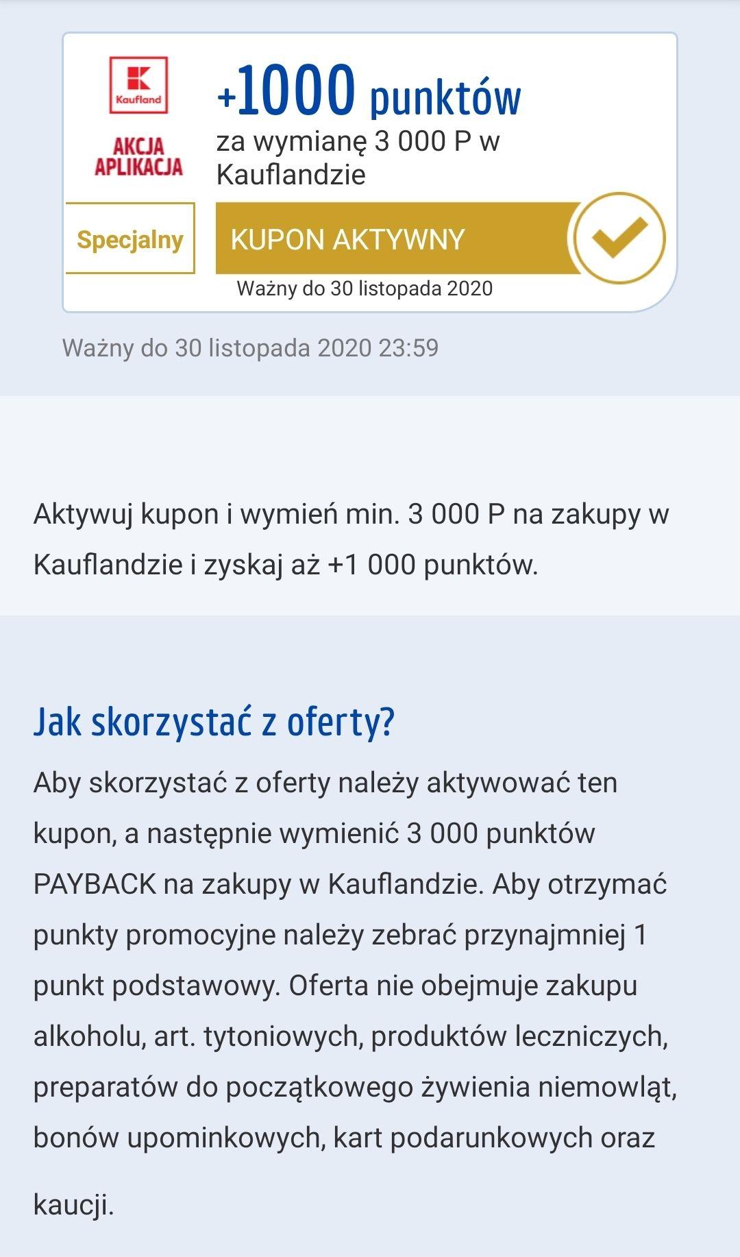 Kaufland 1000pkt Payback za wymianę 3000pkt. Realne 10zl zwrotu.