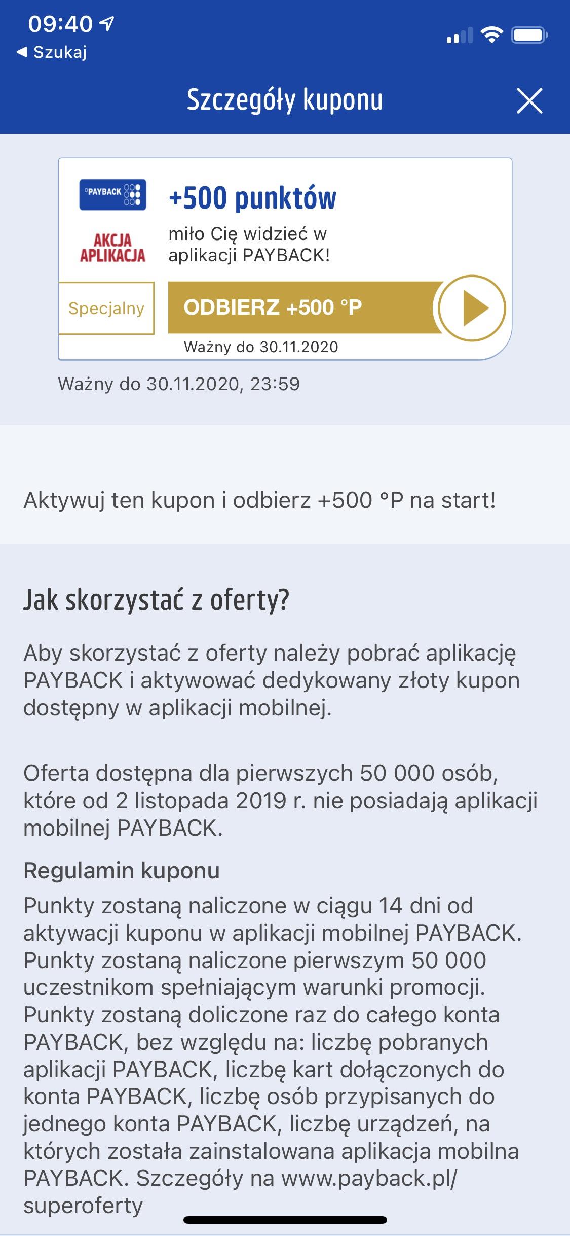 500 punktów Payback (dla nieposiadających aplikacji Payback)