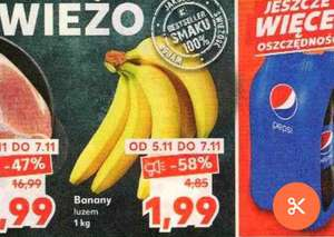 Banany 1.99 za kilogram. Kaufland
