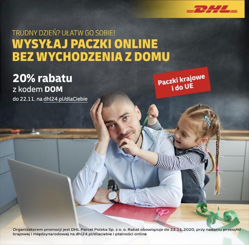 20% rabatu na nadanie paczki DHL, krajowe i UE.