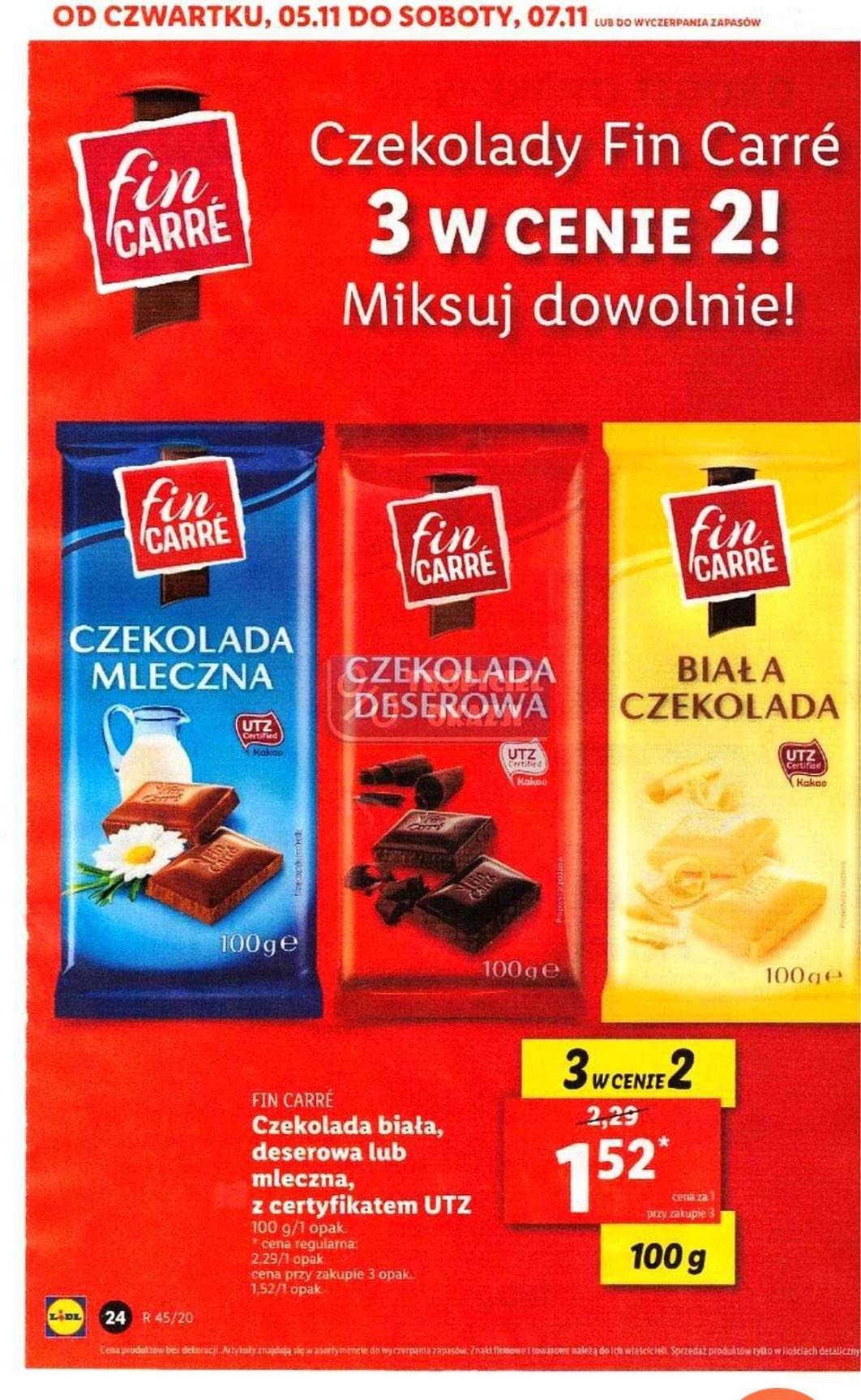 Czekolada Fin Carre. Lidl. 1.52 sztuka przy zakupie 3. 3 czekolady w cenie 2.