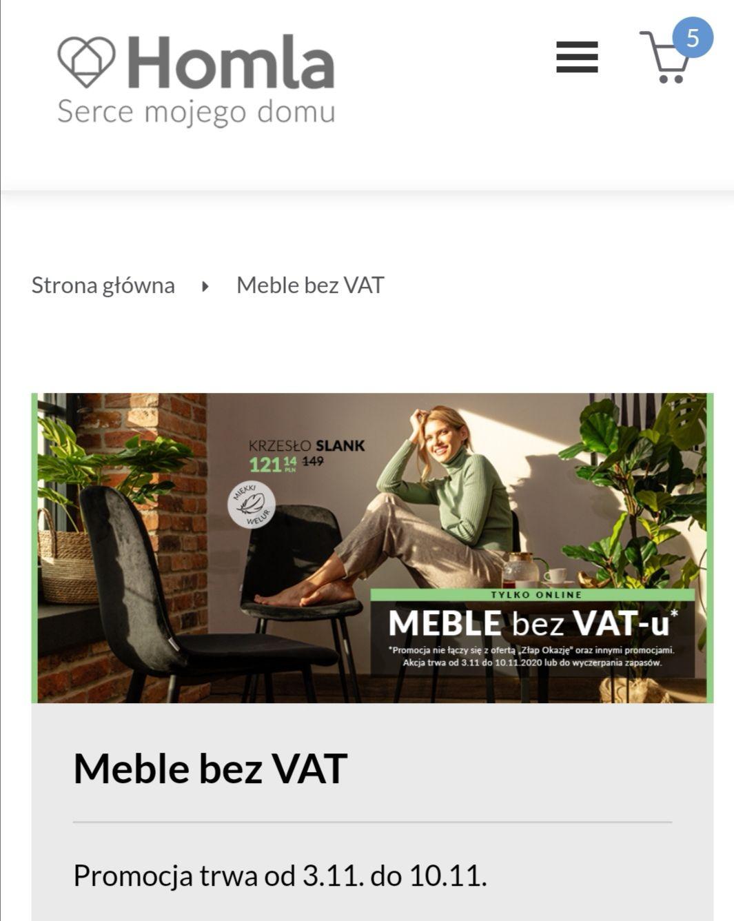 Sklep Homla meble bez VAT