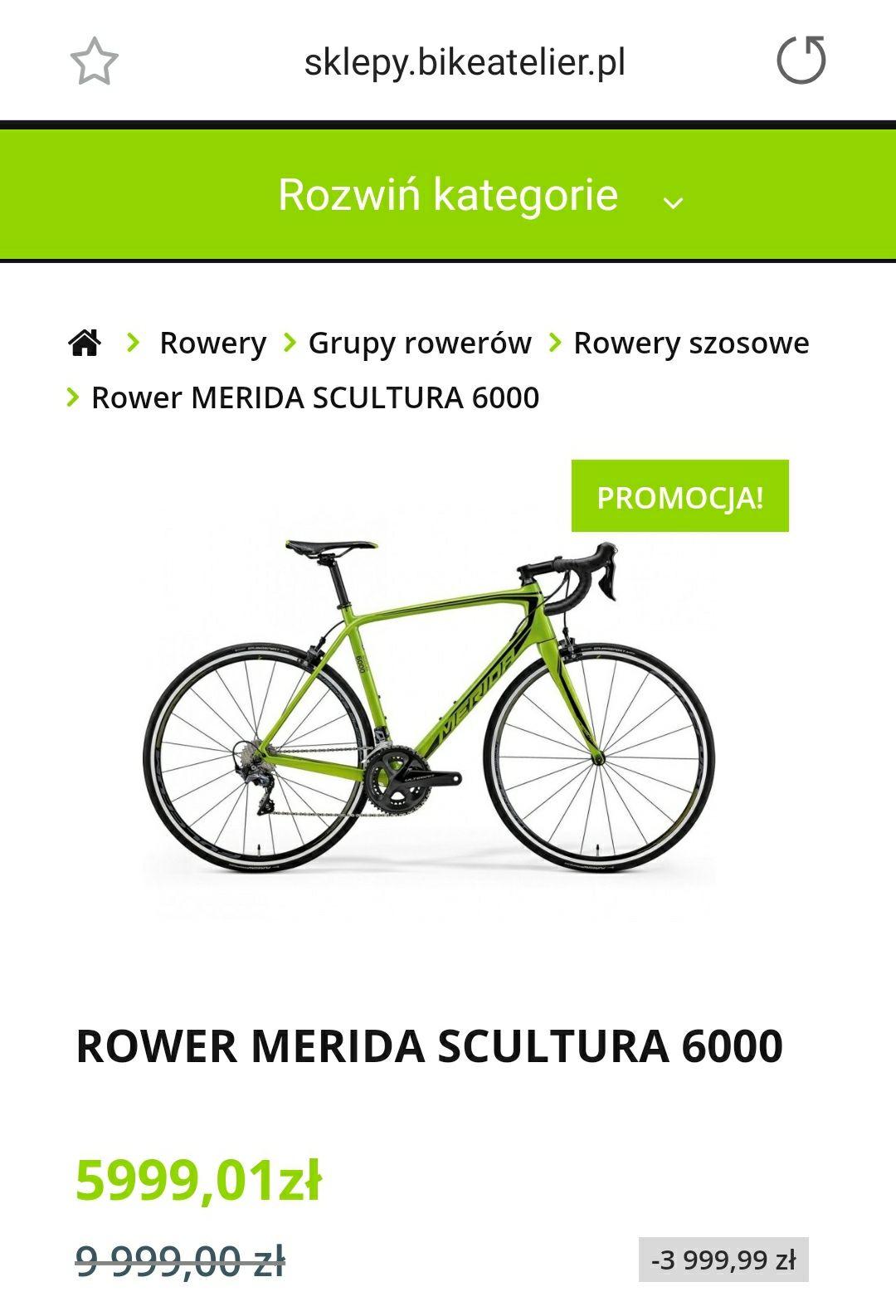 Rower szosowy Merida Scultura 6000, rozmiar L, kolekcja 2018