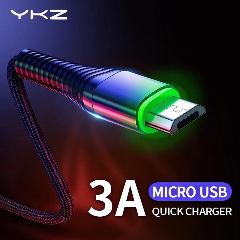 Kabelek YKZ typu USB-C i MicroUSB ze świecącą końcówką 3A