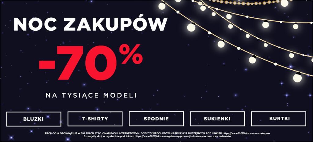 Noc zakupów -70% w sklepie 5.10.15