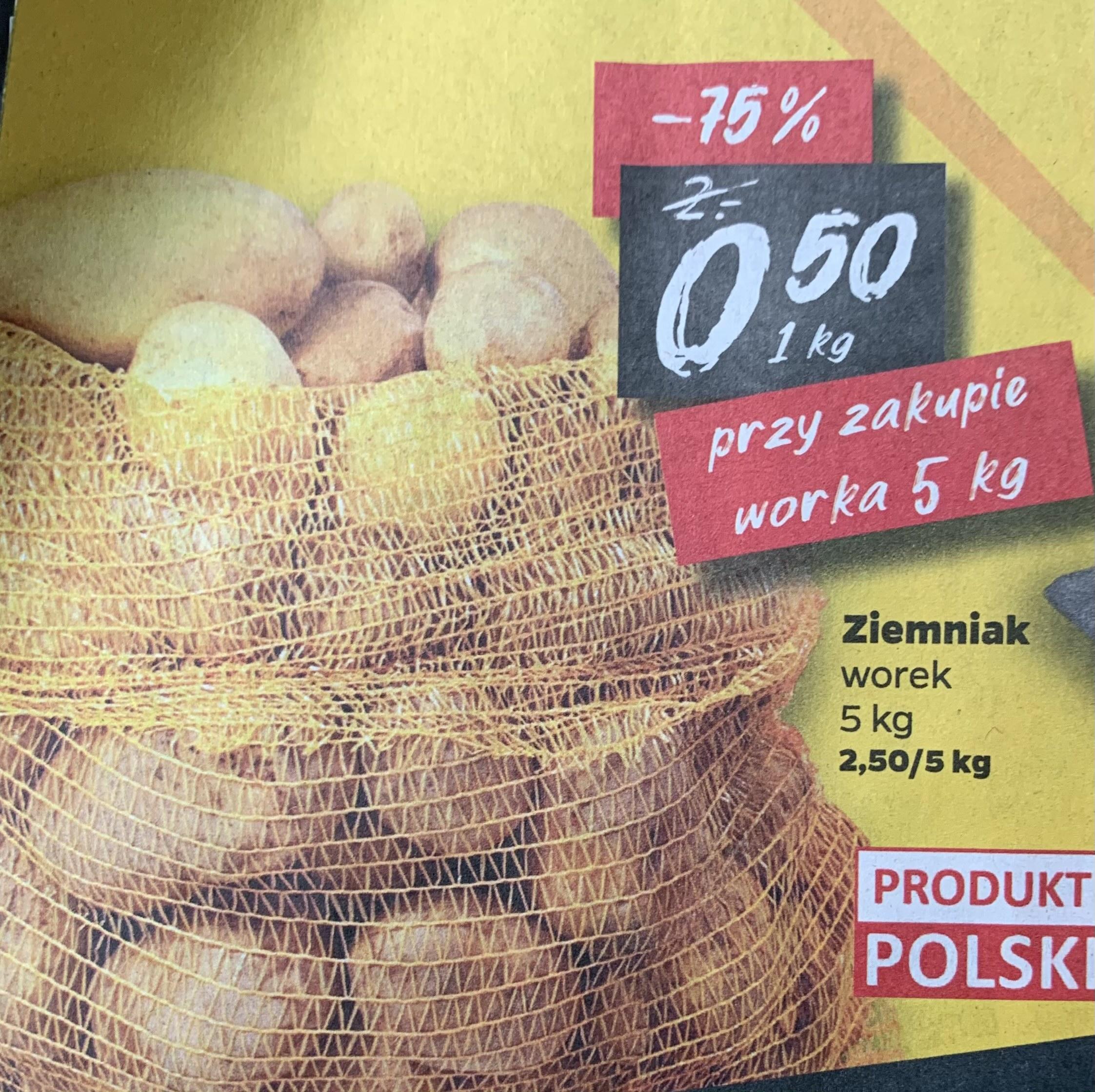 Ziemniaki 0,50zł/kg przy zakupie worka 5kg @Netto