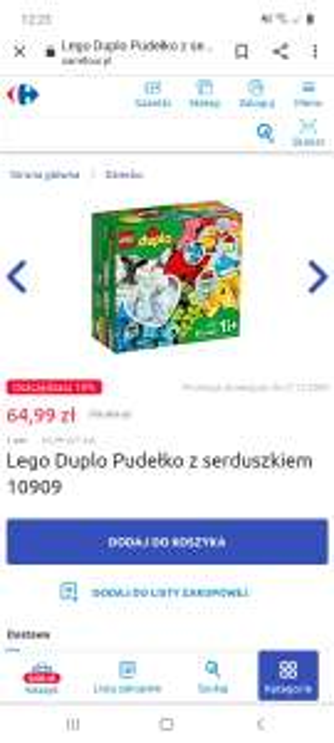 Lego duplo pudełko z serduszkiem 10909 Carrefour