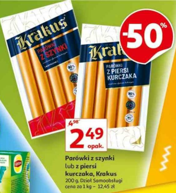 Parówki z szynki lub z piersi kurczaka Krakus. Auchan