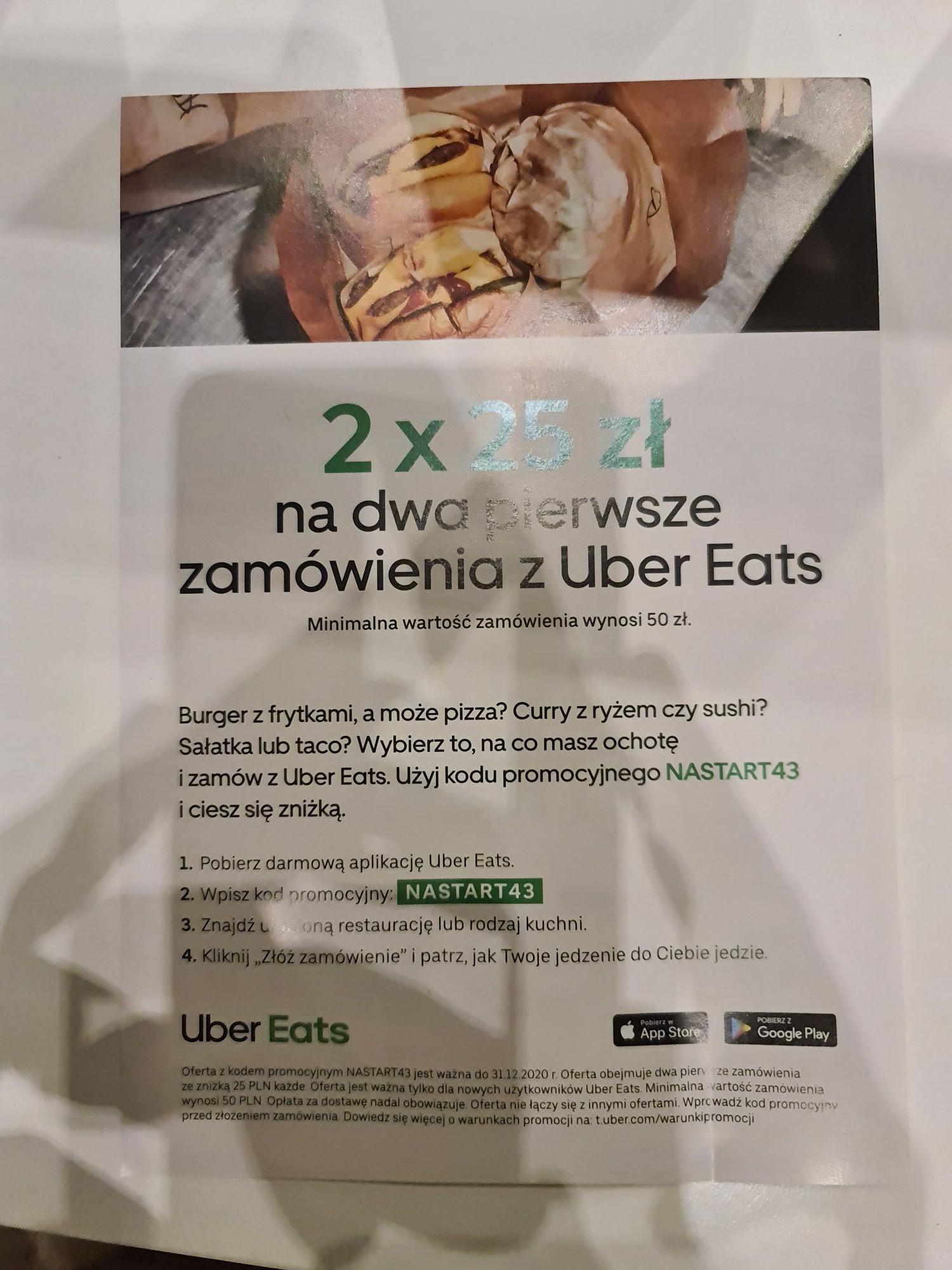 Uber Eats 2x25zł na dwa pierwsze zamówienia MWZ 50zł