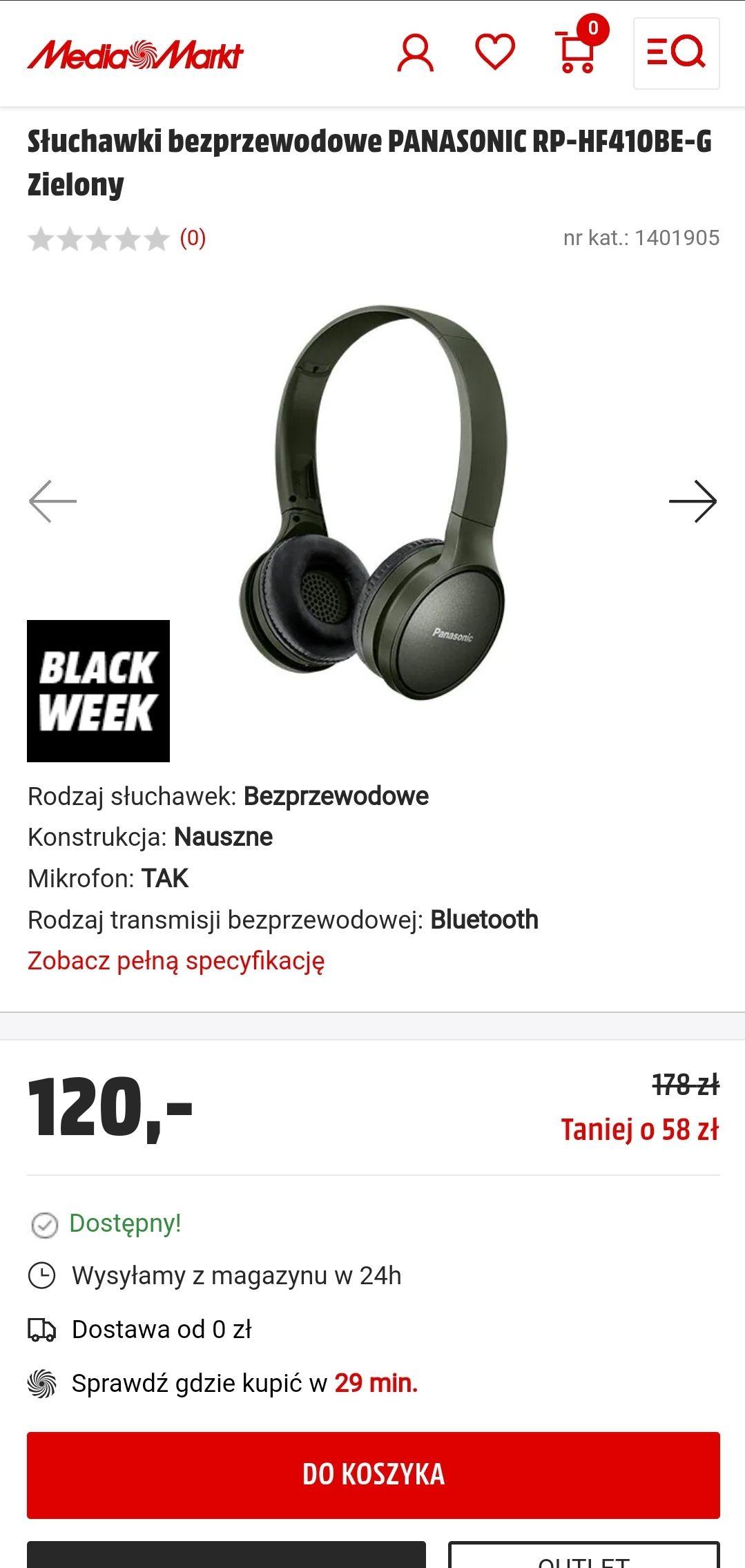 RP-HF410BE-G Słuchawki bezprzewodowe PANASONIC