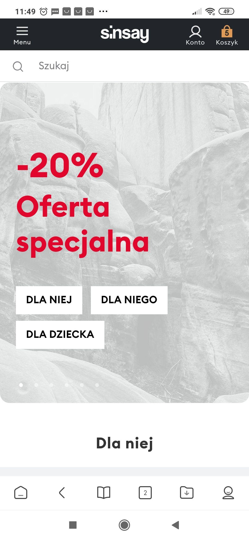 Sinsay -20 % oferta specjalna na wybrane modele