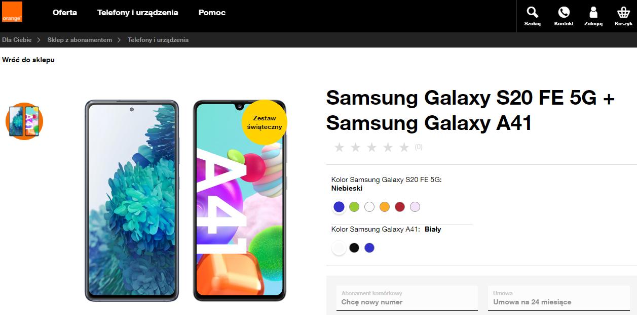 Samsung Galaxy S20 FE 5G + Samsung Galaxy A41 w Orange 110,00 zł x 24 raty biorąc w abonamencie za 75 zł lub po zniżce 55 zł