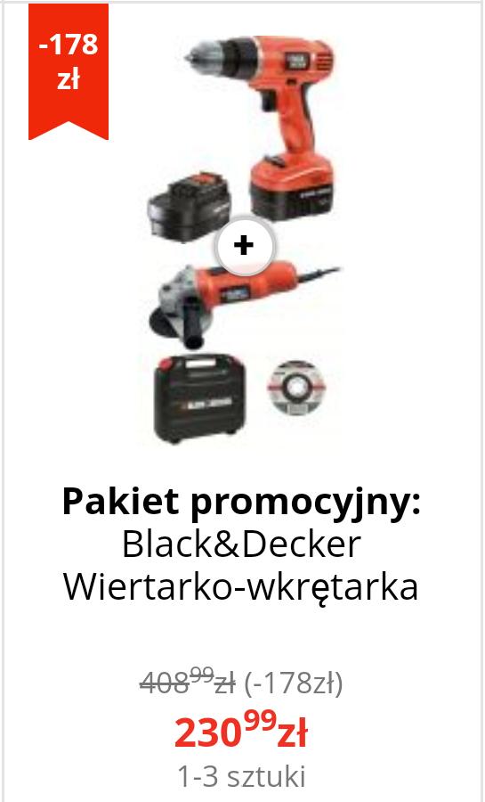 Pakiet promocyjny: Black&Decker Wiertarko-wkrętarka EPC12CAB + Szlifierka kątowa Black+Decker CD115K
