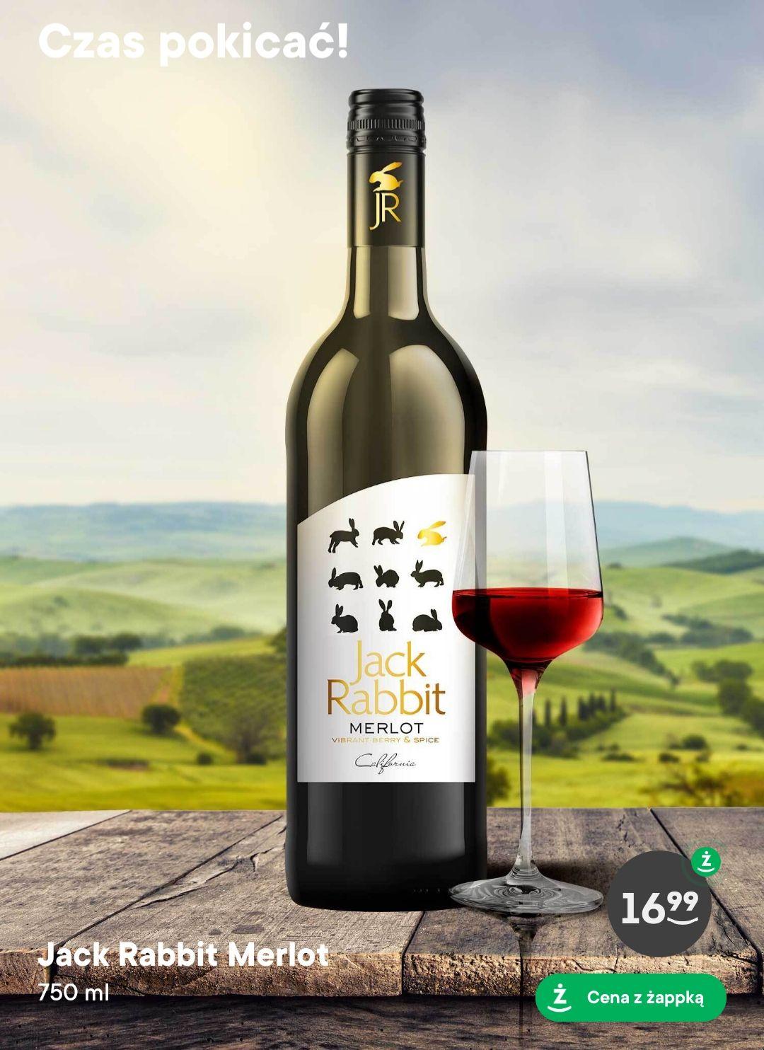 Czerwone półwytrawne wino Jack Rabbit Merlot w Żabce z aplikacją Żappka