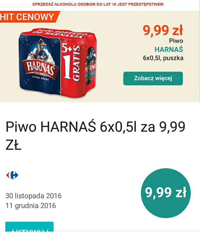 6-pak Harnasia 9,99zl z aplikacja Moj Carrefour @ Carrefour hipermarket