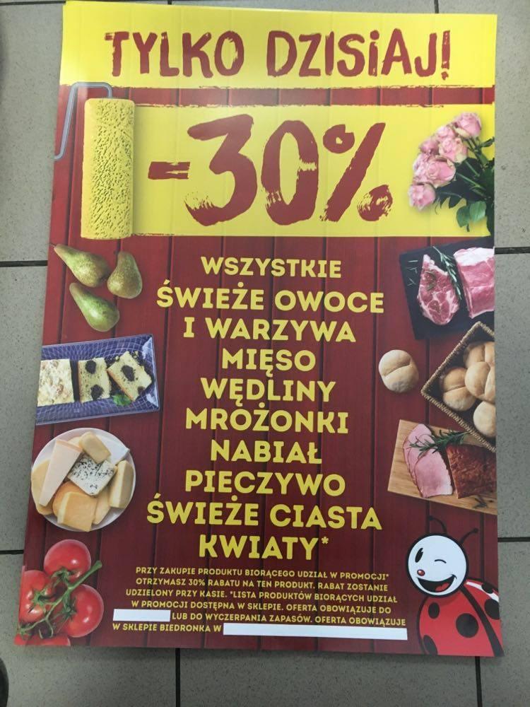 Biedronka Bliżyn - 50% na art. przemysłowe oraz -30% na owoce i warzywa, mięso, wędliny, mrożonki, nabiał