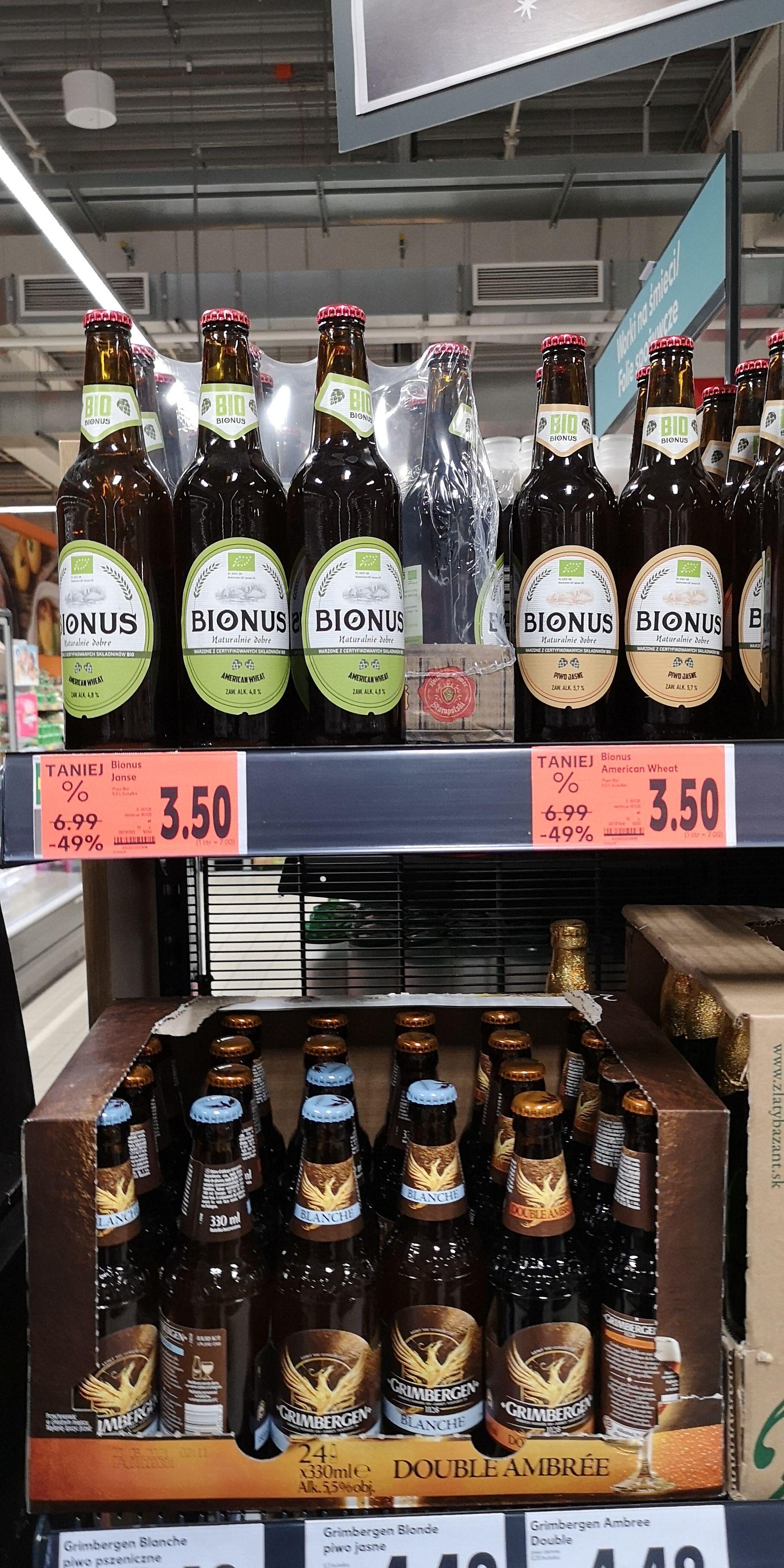 Kaufland Olsztyn piwo Bionus 2 rodzaje