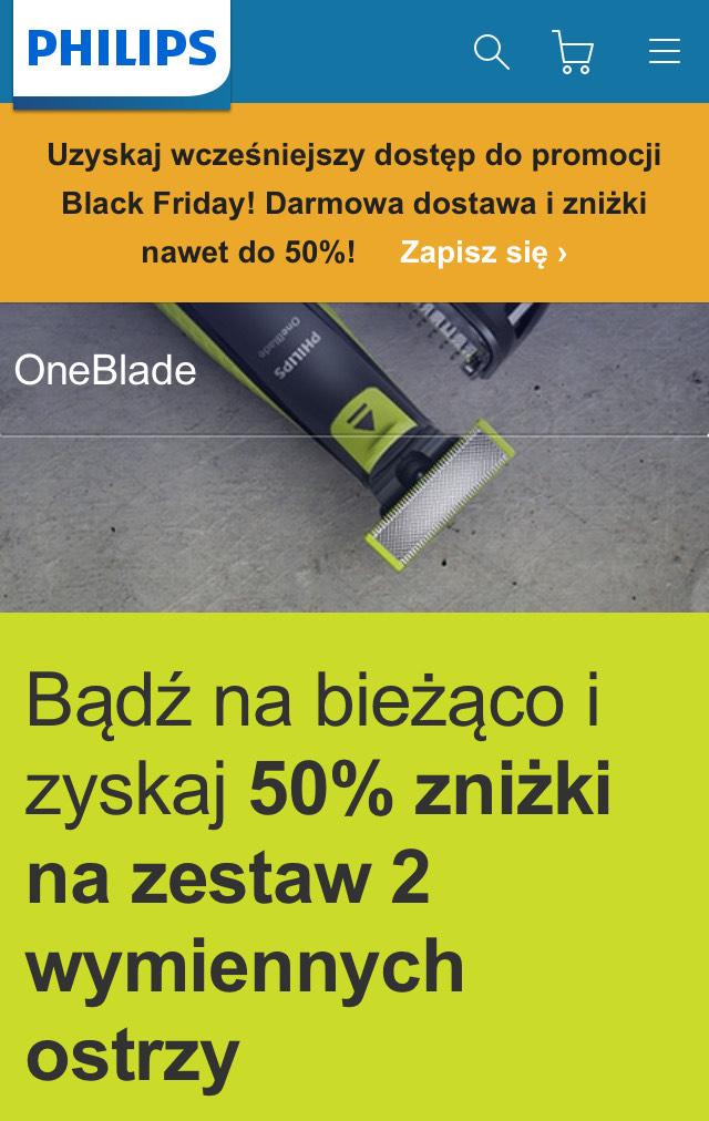 Ostrza Philips One Blade 2 Sztuki 50% taniej