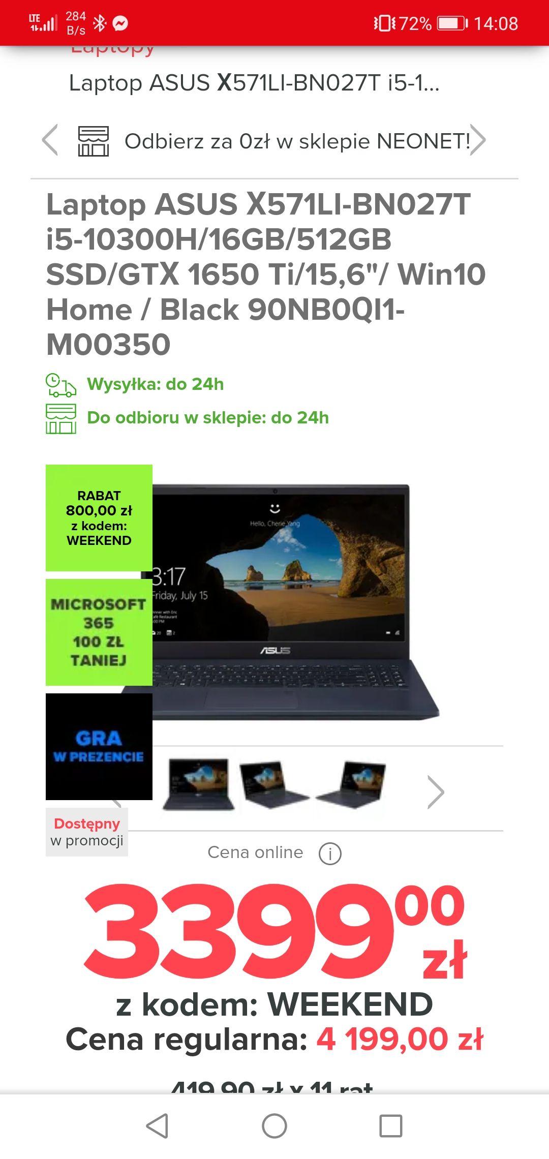 Laptop ASUS X571LI-BN027T