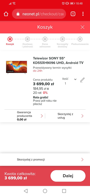 Telewizor Sony 55 xh9096 za 3514,05 zł w Neonet