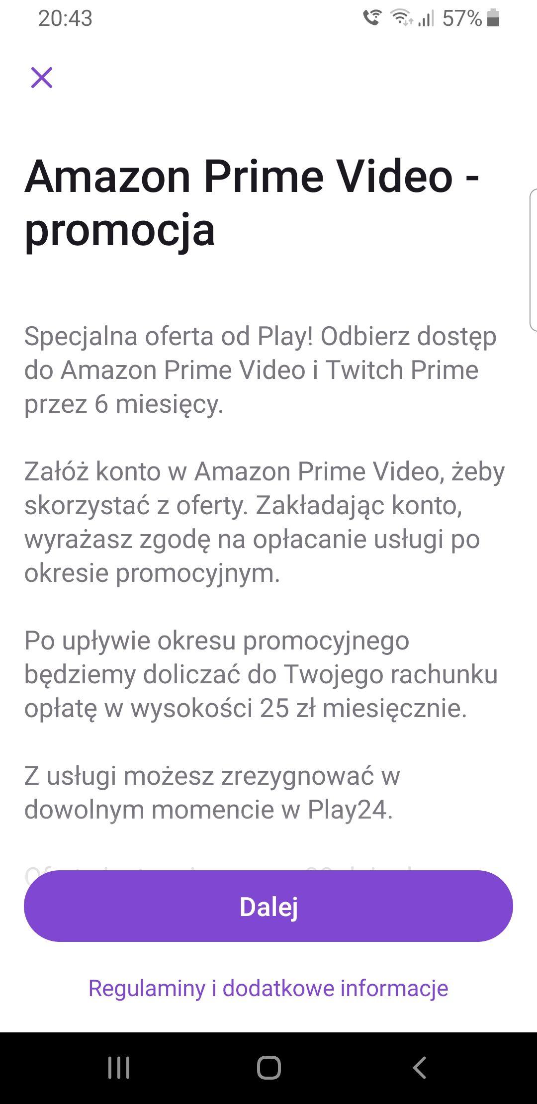 Amazon Prime Video w Play przez 6 msc za free!