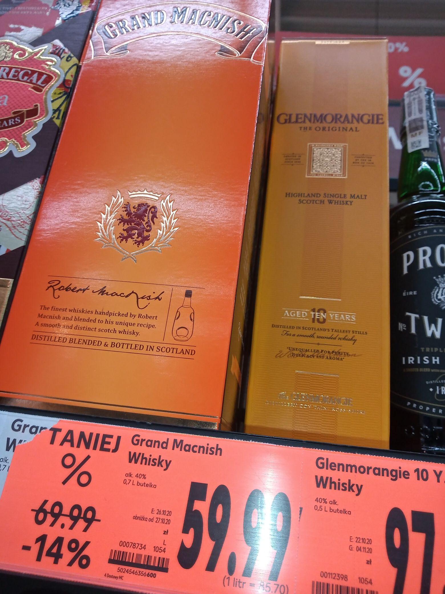 Glenmorangie 0.5 10 Y.O. Grand Macnish 0.7 whisky szkocka Kaufland Łódź Zgierska