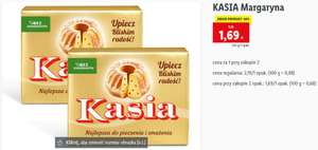 Margaryna Kasia 1,69zł przy zakupie 2 opakowań - Lidl