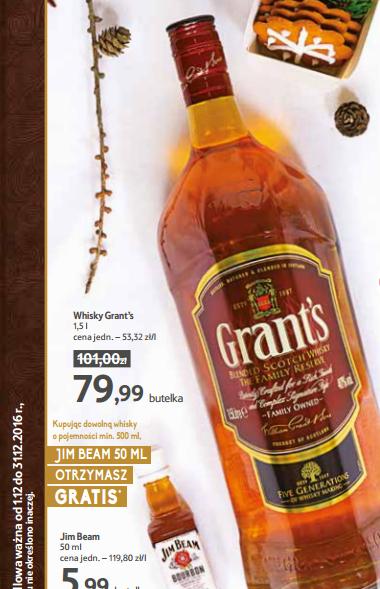 Grant's 1,5 L + JIM BEAM 50 ml gratis - TESCO