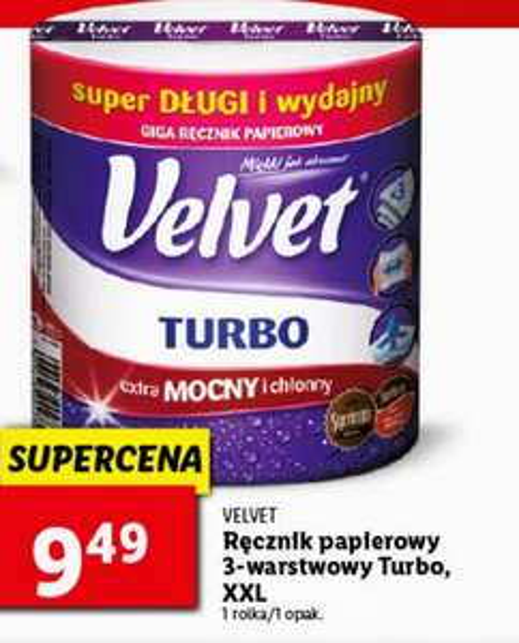 Ręcznik papierowy XXL Velvet Turbo super mocny ,trzy grube warstwy super wytrzymały,chłonna struktura w sklepach Lidl,produkt z gazetki