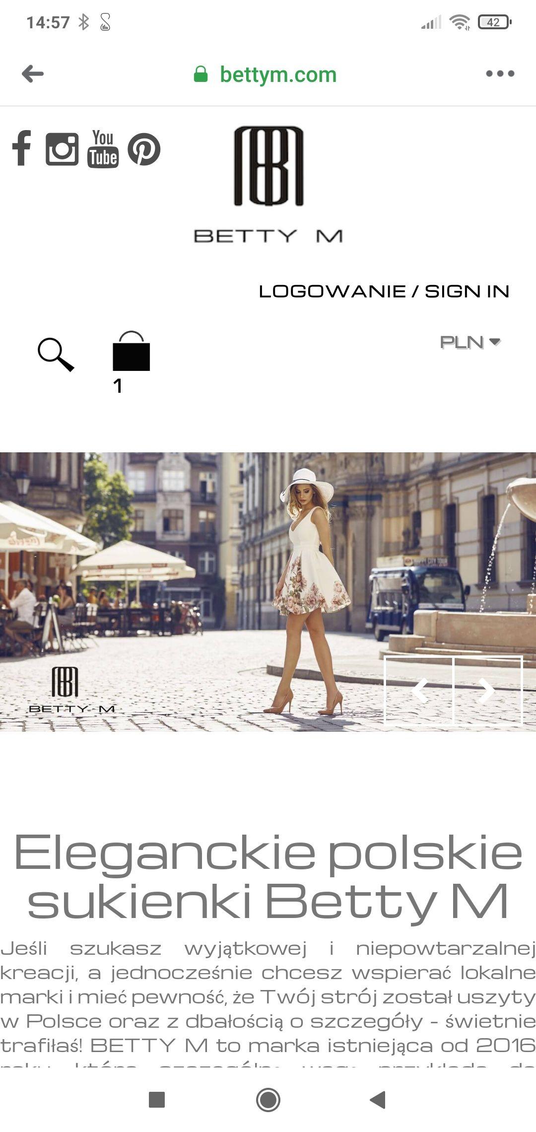 Promocja na sukienki -70 % sklep Betty M
