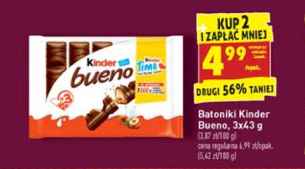 Kinder Bueno opakowanie 3x43g 1,66 zł za sztukę Biedronka