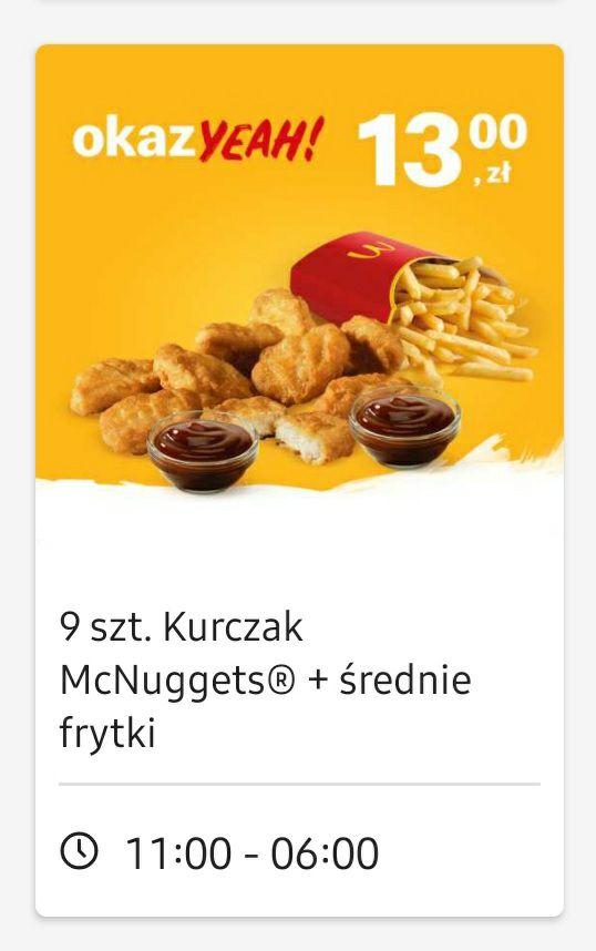 Mcnugetsy 9 szt. + średnie frytki + dwa dowolne sosy za 13 zł z aplikacją