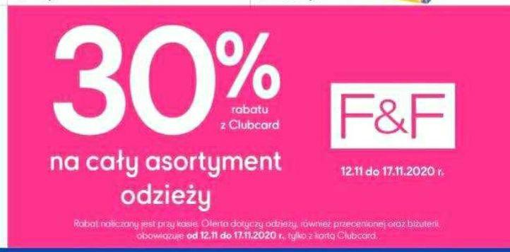 Tesco - odzież F&F -30% z kartą Clubcard